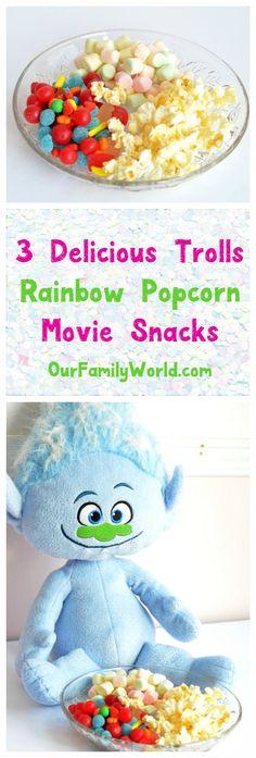 Make your movie night extra special with our trio of easy Trolls-inspired rainbow movie snacks! #ad #bringhomehappy, #familymovienight #dreamworkstrolls