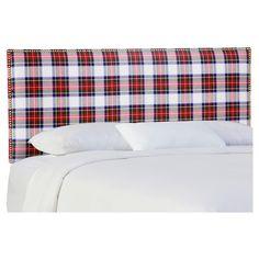Becker Upholstered Headboard - California King - Stewart Dress Multi - Skyline, Red