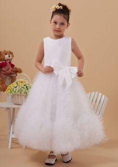 2015 Straps Ruched Tulle Zipper Bowknot Sleeveless White Tea Length Flower Girl Dresses FGD