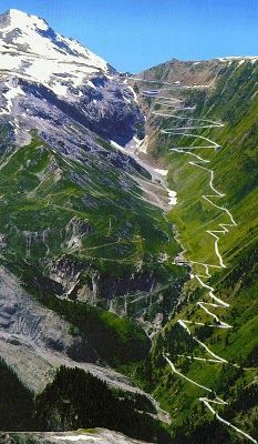 Stelvio Pass in the Italian Alps. Wow, this drive in a convertible would be awesome and romantic at the same time