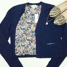 """Anthropologie Navy Blue Cardigan Cardigan that's just as sweet inside as well as outside. Pops of floral print make the cardigan fun! Open front without closure. Brand is Monogram.  85% cotton 
