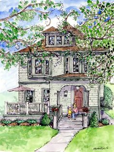 Custom House Portrait in Watercolor and Pen by Patty Fleckenstein, via Etsy House Sketch, House Drawing, Watercolor Architecture, Watercolor Landscape, Watercolor Sketch, Watercolor Paintings, Watercolors, Pen And Wash, Urban Sketchers