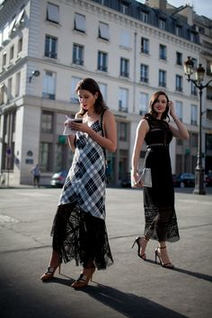 Plaid and lace in Paris.