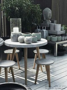 Concrete and wood patio furniture. Concrete and wood patio furniture.