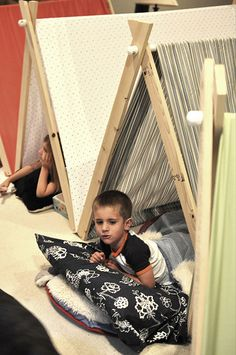 DIY collapsible pup tents!  wood strips, pvc pipe, twin flat sheet! Tons of fun!!
