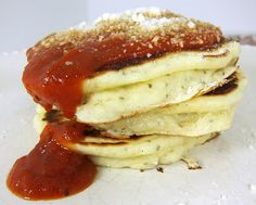 YUM!! Pizza Pancakes! Bisquick, sausage, pepperoni,mushroom..cook like a pancake, top with sauce! MMMMHMM