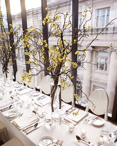 Branch Centerpiece    Arrangements of flowering branches make striking centerpieces.