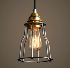 PM0012-1(antique brass+black)  Cage Pendant lamp. This lamp is simple but well-designed. The designer is quite creative. simple steel cage with a edison bulb.It is the combination of modern and antique.
