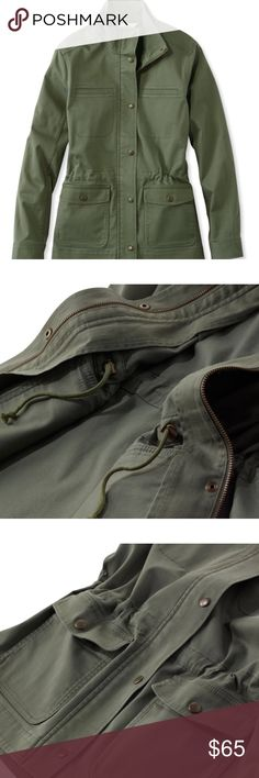 L. L. Bean utility jacket Olive green in color. Excellent used condition! Fits true to size. Wonderful quality. Not too heavy so it can be worn in the fall, winter, and spring. Multiple pockets! L.L. Bean Jackets & Coats Utility Jackets