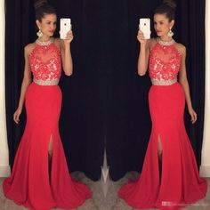 Prom Dresses Long Crystals Beaded Halter Neck Lace