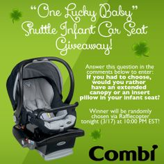 """Happy St. Patrick's Day!  Enter our """"One Lucky Baby"""" Shuttle Infant Car Seat giveaway on Facebook! www.facebook.com/usacombi"""