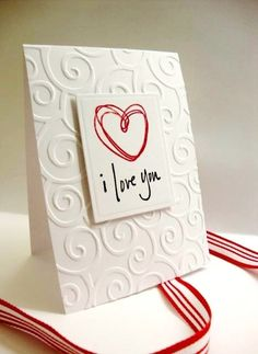 Scribble Heart Valentine Card. $3,00, via Etsy. Nice idea for a DIY card with flower too,