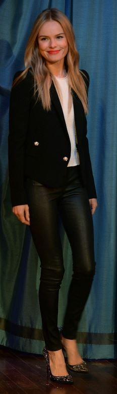 Kate Bosworth: Jacket – Dolce & Gabbana  Shirt and pants – Topshop  Shoes – Christian Louboutin