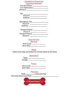 Dog sitter checklist from AllAmericanPup.com
