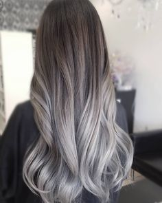 Are you looking for the most flattering silver/ grey hair color ideas and styles? Grey Ombre Hair, Silver Grey Hair, Ash Blonde Hair, Dark Hair, Brown Hair, Grey Balayage, Ambre Hair, Grunge Hair, Hair Looks