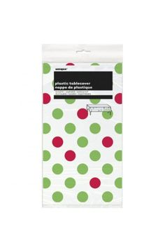 Red and Green Dots Plastic Tablecover - Christmas & Winter Decorations