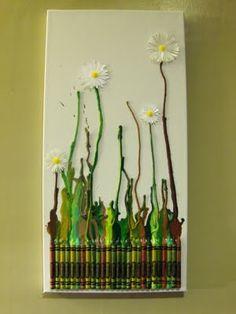 Melted crayon flower art