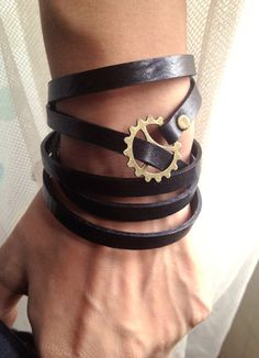 Steampunk Bracelet 5 Circles Black Leather Wrap by pier7craft, $9.50