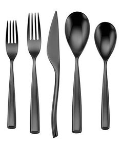Oneida Romano Black 5 Piece Place Setting - Flatware Silverware - Dining Entertaining - Macy's Bridal and Wedding Registry Oneida Flatware, Flatware Set, Silverware Sets, Back To University, Black Cutlery, Place Settings, Table Settings, Home And Living, Houses