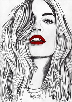 """Saatchi Online Artist: Paul Nelson-Esch; Pencil, 2012, Drawing """"The Girl with the Red Lips"""""""