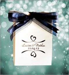How can you beat this wedding favor for classy? Personalized with your choice of design or monogram, over 30 ink colors, this party favor is stylish and affordable. The navy blue satin and sheer ribbon is sold separately. Both are available at www.favorsyoukeep.... Questions? Call 512.323.0600. We love to chat.