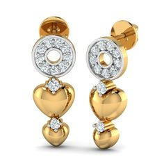 Gift Locked in Love Stud to her on Valentine's Day from Aurobliss Buy Earrings, Heart Earrings, Gold Earrings, Diamond Chandelier Earrings, Valentines Day Gifts For Her, Gold Jewellery, Jewelry, Studs, Pendant