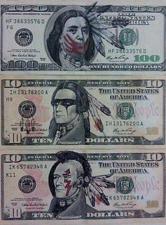 What it should look like ~ native american dollar Native Indian, Native Art, Indian Art, Red Indian, Native Style, Native American History, Native American Indians, Native Humor, American Dollar