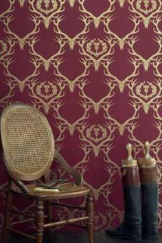 Barneby Gates Deer Damask Wallpaper - Claret/Gold