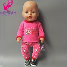 Best Seller Rose pink Christmas sweater clothes and pants set for zapf baby born doll also fit for 18 inch american girl doll children gift