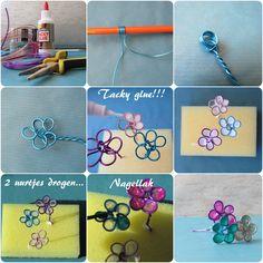Bloemen van draad en nagellak met tacky glue. Flowers made of wire, tacky glue and nailpolish