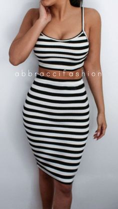Striped Knitted Two Piece Dress Bodycon Knee Length Midi High Waist Crop Top