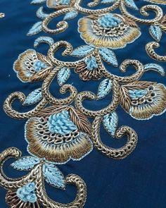 Hand Embroidery Design Patterns, Bead Embroidery Tutorial, Kurti Embroidery Design, Hand Work Embroidery, Couture Embroidery, Zardozi Embroidery, Hand Work Design, Hand Work Blouse Design, Embroidery On Kurtis