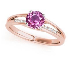 1.05 Carat Total Weight Round Cut Pink Sapphire Petite Diamond Split... ($1,550) ❤ liked on Polyvore featuring jewelry, rings, diamond engagement rings, round cut engagement rings, pink sapphire ring, rose gold engagement rings and rose gold diamond ring