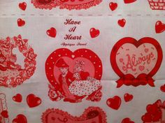 Valentine panels Wamsutta OTC, Have a Heart applique, valentine cute kids, table cloth, red,pink, white by Pastelvintage on Etsy