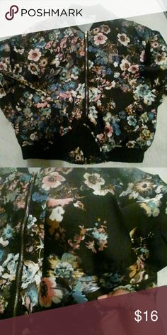 Bomber jacket Super cute bomber jacket Floral never worn. My camera is not picking up the true colors. No tags mint condition Papaya Jackets & Coats