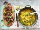 Try this Thai Chicken Laksa - Mildly Spiced Noodle Squash Broth recipe by Chef Jamie Oliver. This recipe is from the show Jamie's 15 Minute Meals. Chicken Laksa, Thai Chicken, Boneless Chicken, Chef Recipes, Great Recipes, Lunch Recipes, Jamie's 15 Minute Meals, Quick Meals, Jamie Oliver 15 Minute Meals