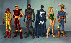 The original New Warriors. Avengers Comics, Marvel Heroes, Marvel Dc, New Warriors, Superhero Characters, Comics Universe, Comic Books Art, Book Art, Hero Arts