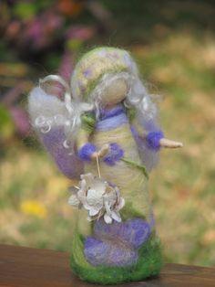 Flower Fairyhydrangea needle felted doll waldorf by Made4uByMagic ♡