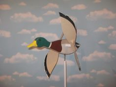 Large Flying Mallard Duck Whirligig / Water Foul / Decoy / Spinner / Handmade…