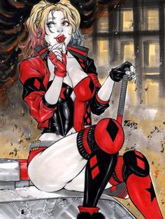 Image in Harley Quinn and the Gotham City Sirens collection by Brooke Michelle Joker Y Harley Quinn, Harley Quinn Drawing, Injustice 2, Anime Angel, Hearly Quinn, Hq Dc, Gotham Girls, Gotham Batman, Batman Art