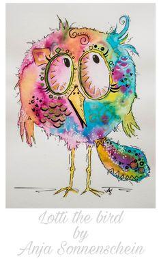 Lotti the #bird #colorfulcrazyworld  by Anja Sonnenschein inspiriert von Clarissa Hagenmeyer