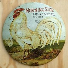 rooster chicken decor | ... Grain Seed Co Round Dome Tin Sign Rooster Chicken Farm Decor D1 | eBay