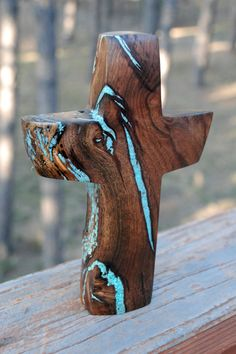 "8"" high x 6"" wide Walnut Standing Cross with Turquoise Inlay"