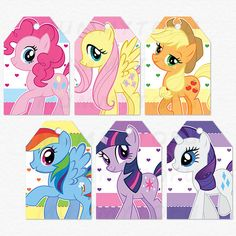 My Little Pony - Pinkie Pie, Apple Jack, Fluttershy, Rainbow Dash, Twilight Sparkle, Rarity Perfect for your kids DIY birthday party :) - This is a DIGITAL file that you can print at home, NO PHYSICAL ITEM will be sent - If you are NOT printing at home, please note that some local print