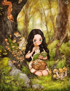먹을 수 있는 버섯은 무엇일까, 도감을 보고 꼼꼼히 골라요. I enjoyed picking mushrooms and looking at which mushrooms were edible by checking the plant book carefully.