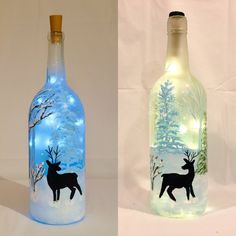 Deer Painted Christmas Wine Bottle With Lights Wine Bottle Art, Painted Wine Bottles, Lighted Wine Bottles, Bottle Lights, Wine Bottle Crafts, Bottle Bottle, Star Christmas Lights, Bottle Lamp Kit, Christmas Wine Bottles
