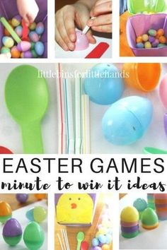 Minute It To Win It Easter games for kids and families. Fun family Easter games that encourage fine motor and gross motor play. Our simple and inexpensive Easter games are also great for classroom parties! Easy kids party games for kids of all ages to enj Easy Kids Party Games, Games For Kids Classroom, Easter Party Games, Easter Activities For Kids, Slime For Kids, Fun Games, Spring Activities, Science Activities, Birthday Games