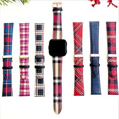 Plaid Fitbit Versa Watch Band, Christmas FitBit #accessories #watch #leather #versa #customversaband #christmasfitbit #uglysweater #christmasgift #fitbitversaband #fitbitversa #fitbitversaleather #christmaswatchband #plaidwatchband #burberrywatchband #plaidleatherband Fitbit Bands, Burberry Watch, Christmas Gifts, Christmas Decorations, Watch Bands, Plaid, Trending Outfits, Unique Jewelry, Handmade Gifts