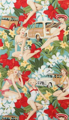 Alexander Henry Aloha Girls Tropical Hawaiian Floral Pin up Girl Fabric - Black for sale online Teal Fabric, Retro Fabric, Patchwork Fabric, Vintage Fabrics, Cotton Fabric, Quilting Fabric, Novelty Fabric, Fabric Shop, Floral Fabric