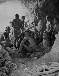 AUG 5 1941 A stay in 'the infamous, bombed Tobruk Hospital One of the famous images of the 'Rats of Tobruk', Australian troops sheltering in one of the caves in the besieged area.
